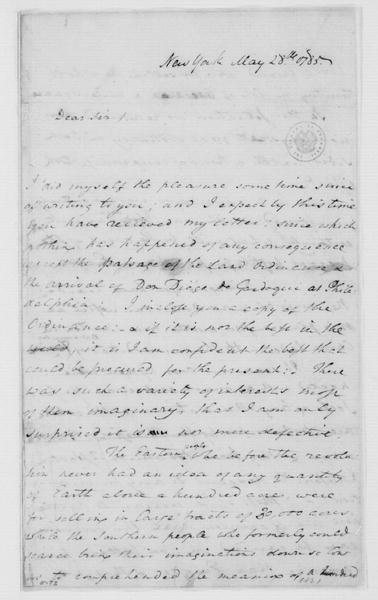 William Grayson to James Madison, May 28, 1785.