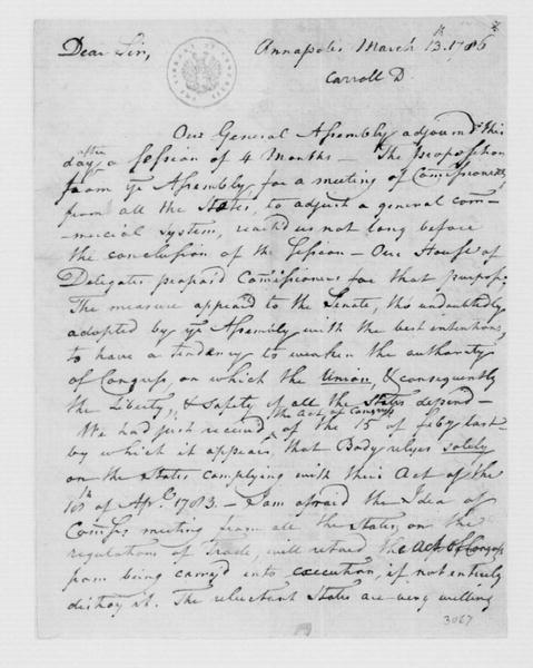 Daniel Carroll to James Madison, March 13, 1786.