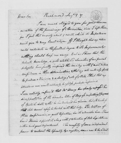 James McClurg to James Madison, August 5, 1787.
