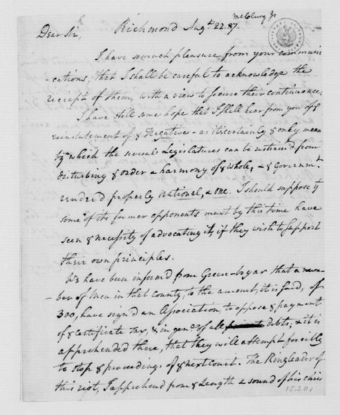 James McClurg to James Madison, August 22, 1787.