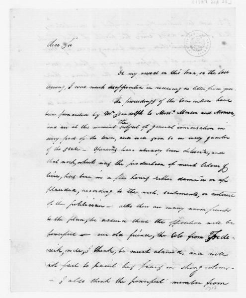 John Dawson to James Madison, September 25, 1787.