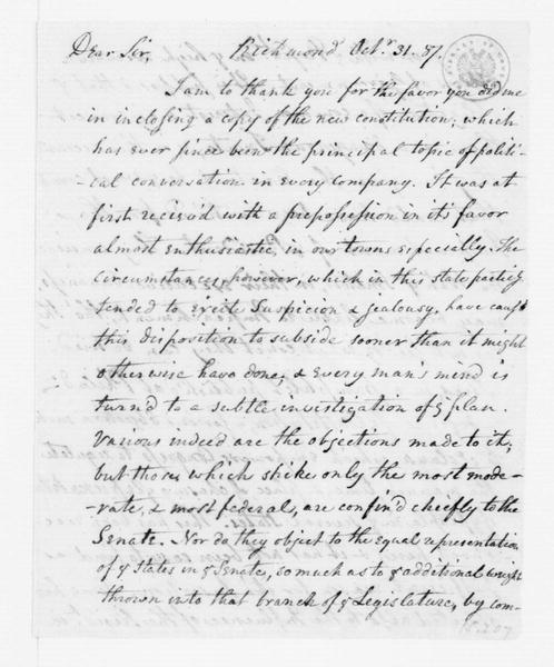 James McClurg to James Madison, October 31, 1787.