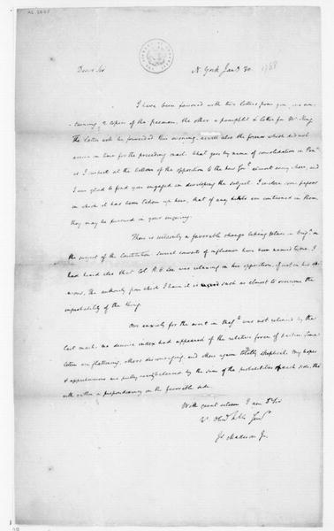 James Madison to Tench Coxe, January 30, 1788.