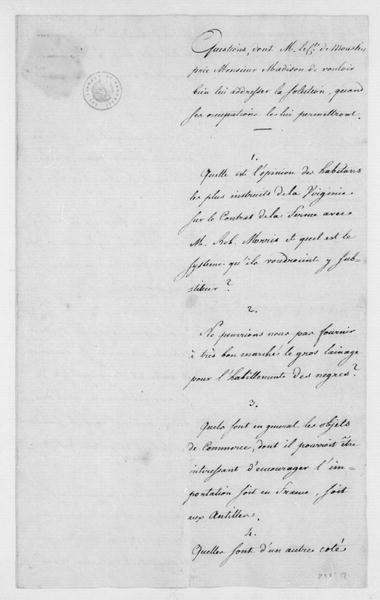 Moustier to James Madison, March 2, 1788. List of Questions Regarding Tobacco Trade between France and Robert Morris; in French.