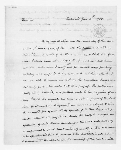James Madison to Tench Coxe, June 11, 1788.