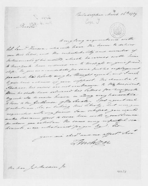 Tench Coxe to James Madison, March 16, 1789.