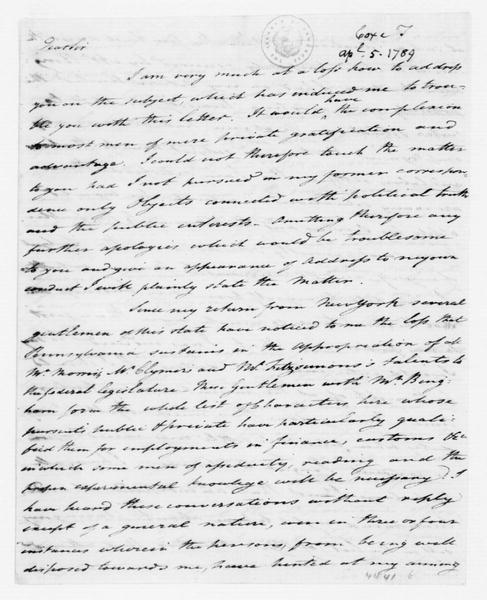 Tench Coxe to James Madison, April 5, 1789.