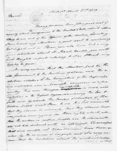 Tench Coxe to James Madison, April 21, 1789.