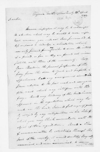 Griffith Stith to James Madison, April 22, 1789.
