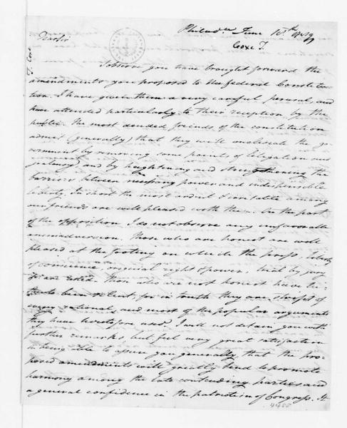 Tench Coxe to James Madison, June 18, 1789.