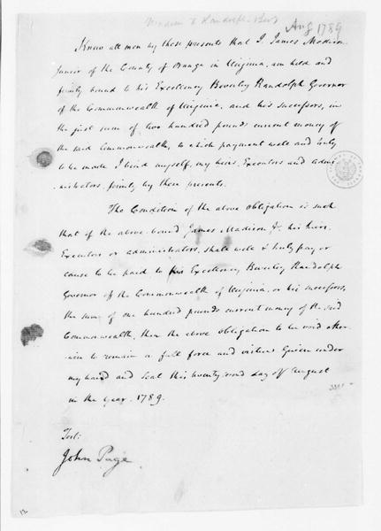 James Madison to Beverly Randolph, August 22, 1789. Bond.