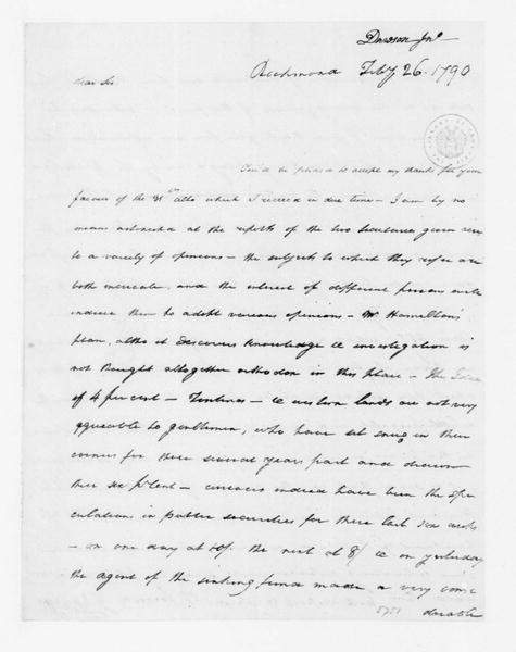 John Dawson to James Madison, February 26, 1790.