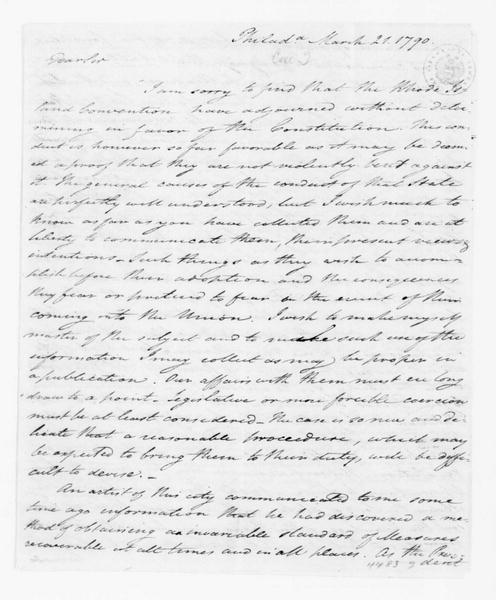 Tench Coxe to James Madison, March 21, 1790.