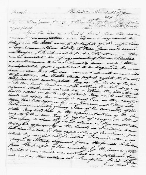 Tench Coxe to James Madison, March 31, 1790. with Note on Spanish Wool.