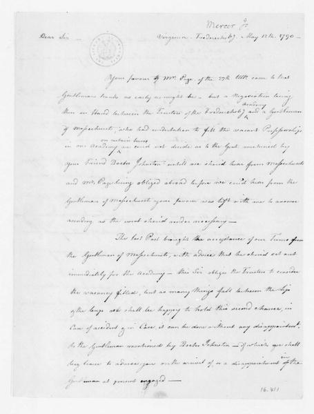 James Mercer to James Madison, May 12, 1790.