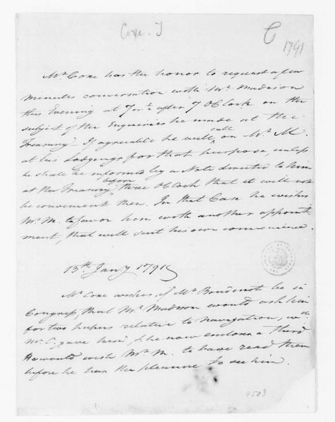 Tench Coxe to James Madison, January 13, 1791.