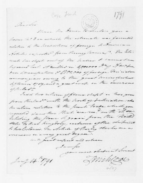 Tench Coxe to James Madison, January 14, 1791.