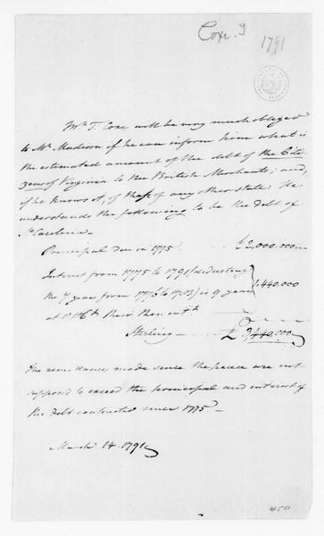 Tench Coxe to James Madison, March 14, 1791.