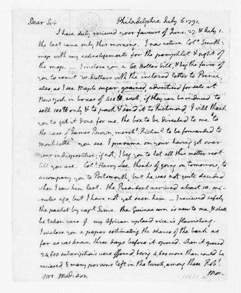 "Thomas Jefferson to James Madison, July 6, 1791. with Information on ""capital stock of the bank""."