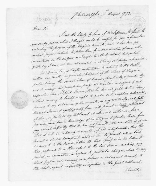 John Beckley to James Madison, August 1, 1792.