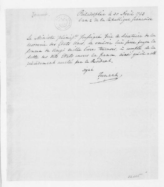 Jean Baptiste de Ternant to Alexander Hamilton, April 30, 1793. In French.