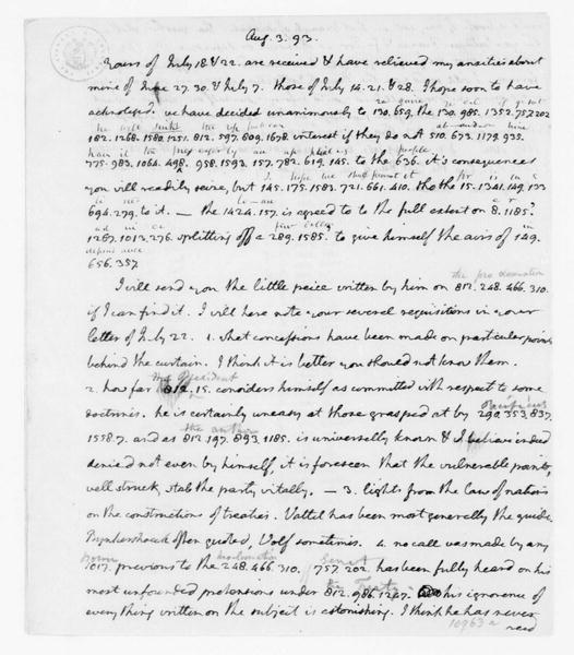 Thomas Jefferson to James Madison, August 3, 1793. Part in cipher with key.