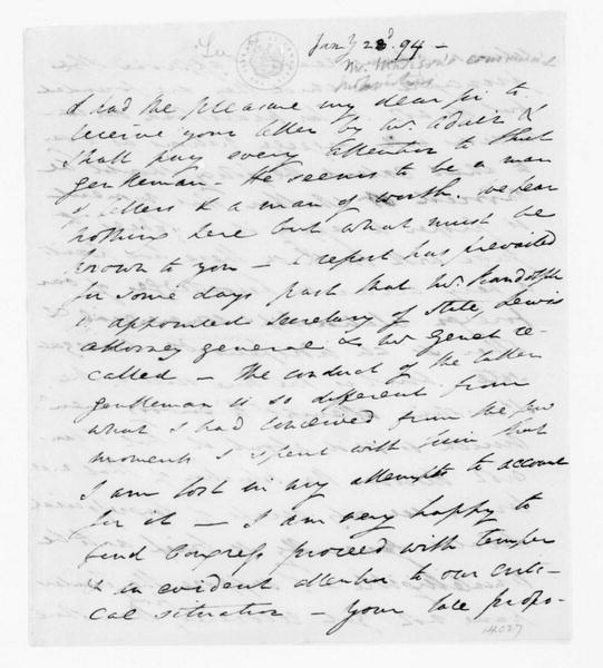 Henry Lee to James Madison, January 23, 1794. Fragment.