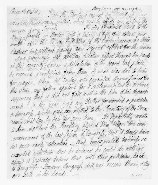 Isaac Story to James Madison, October 27, 1794.
