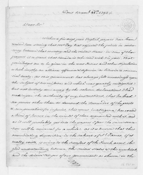 James Monroe to Edmund Randolph, December 18, 1794. copy of private letter, enclosed with 12/18/1794 J. Monroe letter to J. Madison.