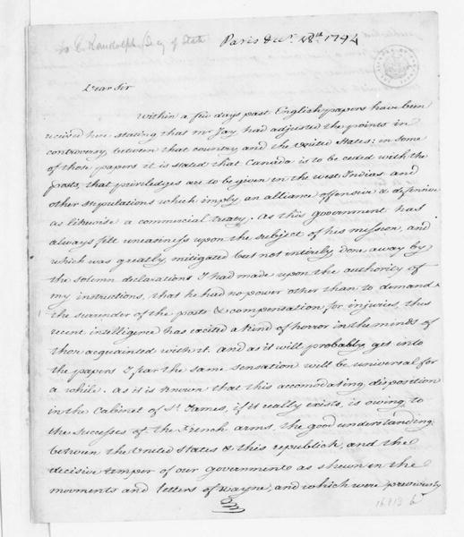 James Monroe to Edmund Randolph, December 18, 1794. copy of previous letter from J. Monroe and E. Randolph.