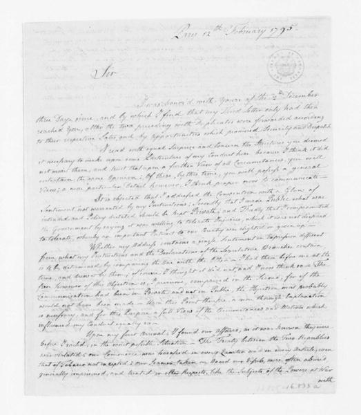 James Monroe to Edmund Randolph, February 12, 1795. Copy of J. Monroe letter to E. Randolph, enclosed in J. Monroe 2/18/1795 to J. Madison.