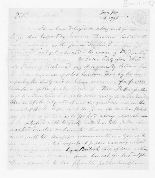 Joseph Jones to James Madison, June 19, 1795.