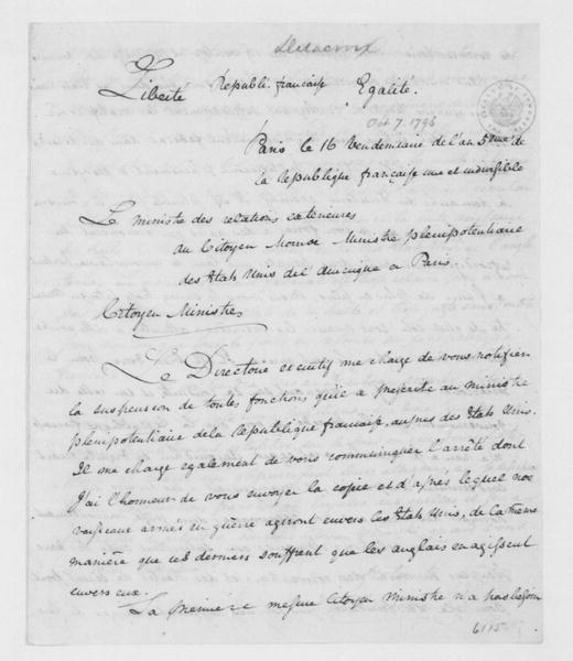 Charles Delacroix de Constant to James Monroe, October 7, 1796. In French.