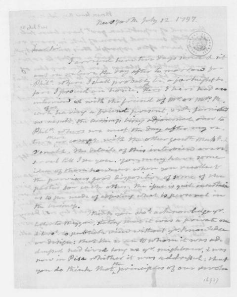 James Monroe to Thomas Jefferson, July 12, 1797. With July 13 Note.