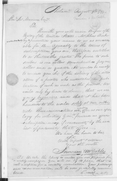 Snowden & McCorkle to James Madison, August 9, 1797.