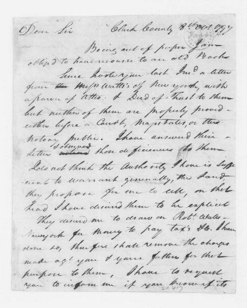 Hubbard Taylor to James Madison, October 8, 1797.