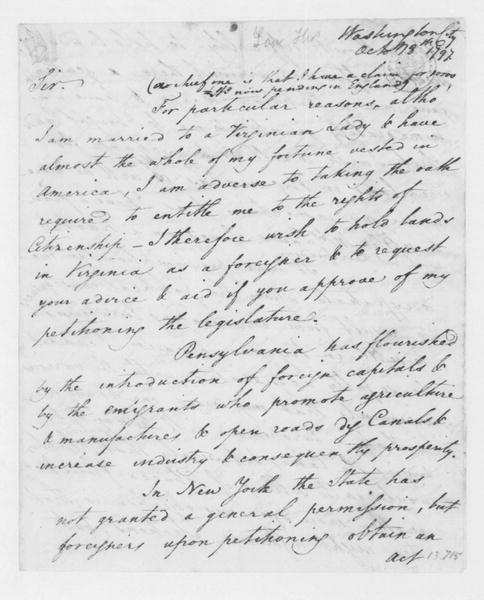 Thomas Law to James Madison, October 18, 1797.