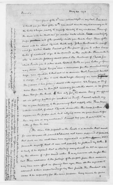 James Madison to Thomas Jefferson, May 20, 1798. With Notes.