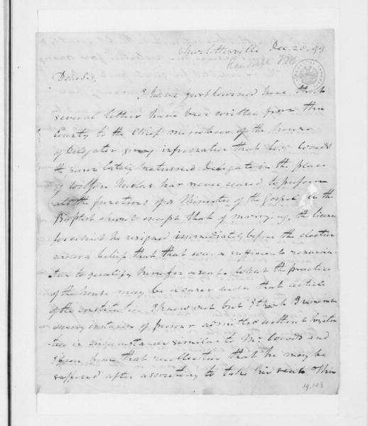 Thomas Mann Randolph to James Madison, December 28, 1799.