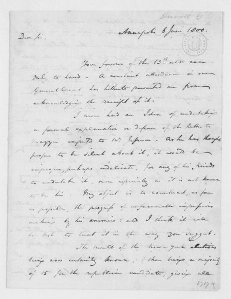 Gabriel Duvall to James Madison, June 6, 1800.