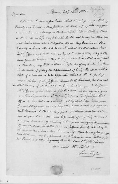 James Taylor to James Madison, February 26, 1801.