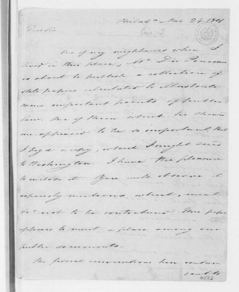 Tench Coxe to James Madison, March 24, 1801.