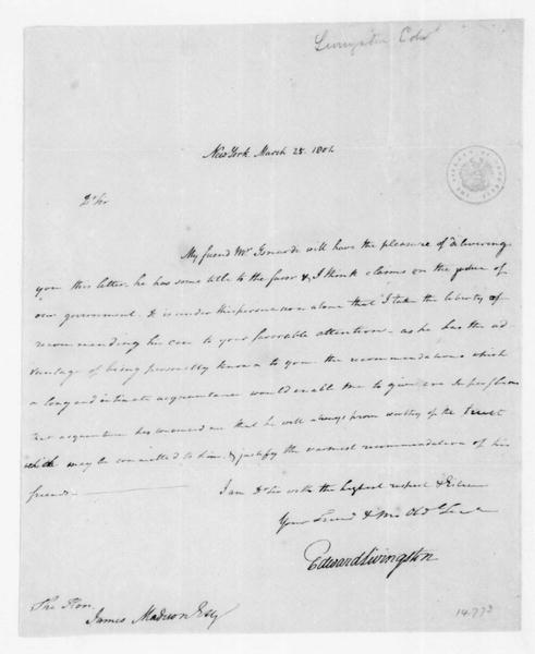 Edward Livingston to James Madison, March 25, 1801.