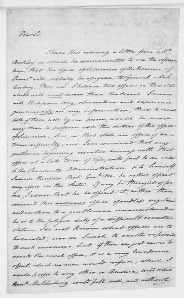 Tench Coxe to James Madison, April 3, 1801.