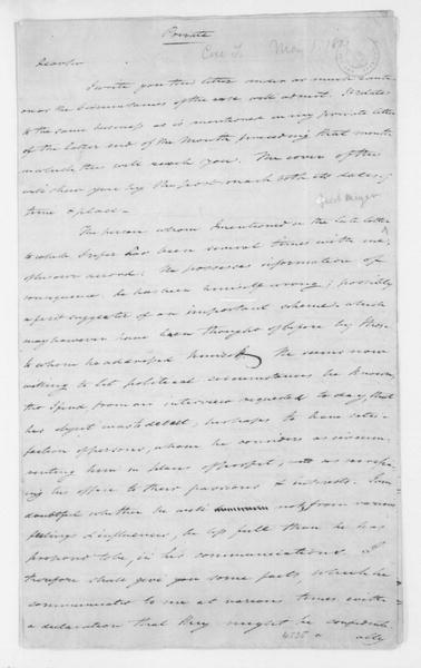 Tench Coxe to James Madison, May 1, 1801.