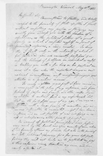 Anthony Haswell to Thomas Jefferson, May 10, 1801.