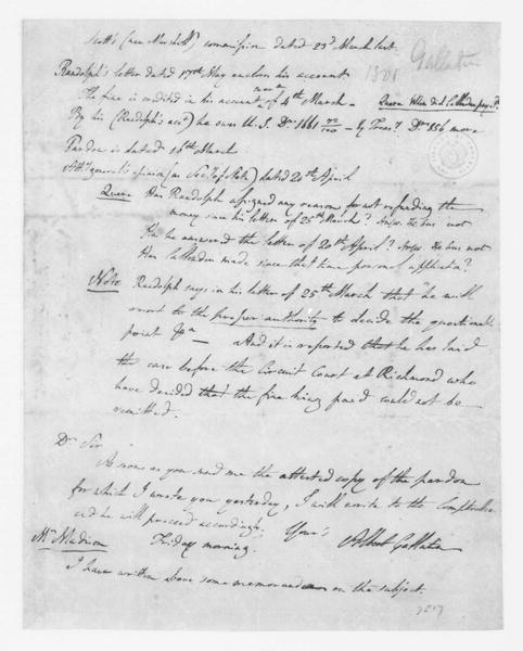Albert Gallatin to James Madison, May 29, 1801. and notes on J. Callender.