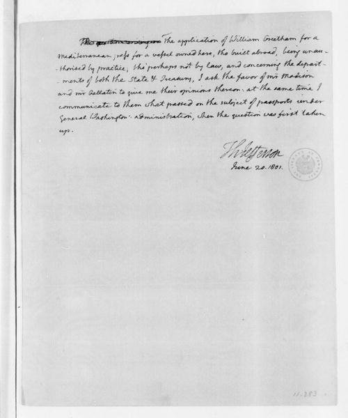 Thomas Jefferson to James Madison, June 20, 1801. Includes Greetham to Gallatin letter of June 17, 1801.