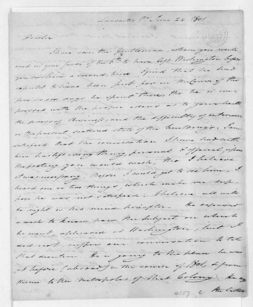 Tench Coxe to James Madison, June 22, 1801.