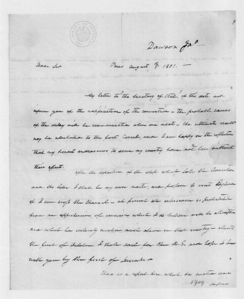 John Dawson to James Madison, August 5, 1801.